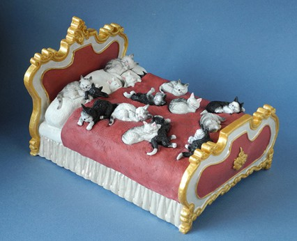 cats on a bed by Dubout